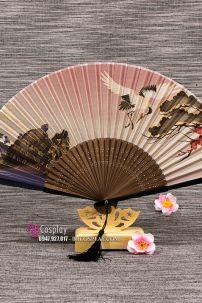 Quạt Vải Xếp Nhật Bản Chim Hạc