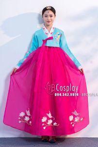 Hanbok Voan Thêu Chim Phụng Áo Xanh Váy Hồng Đậm