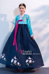 Hanbok Voan Thêu Chim Phụng Áo Xanh Váy Xanh