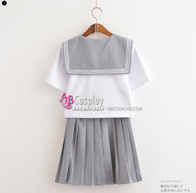 Trang Phục Nữ Sinh Cosplay Nhật Trắng Cổ Xám Váy Xám