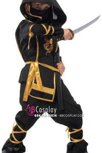 Đồ Hóa Trang Ninja Đen In Rồng Cho Bé