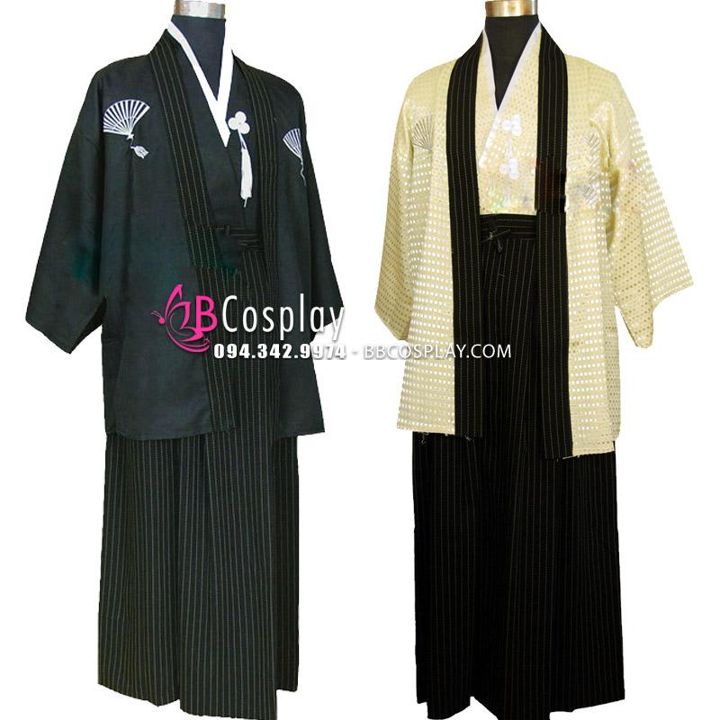 Kimono Nam Nhật Áo Đen Quần Đen
