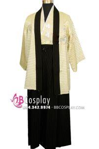 Kimono Nam Nhật Áo Trắng Quần Đen