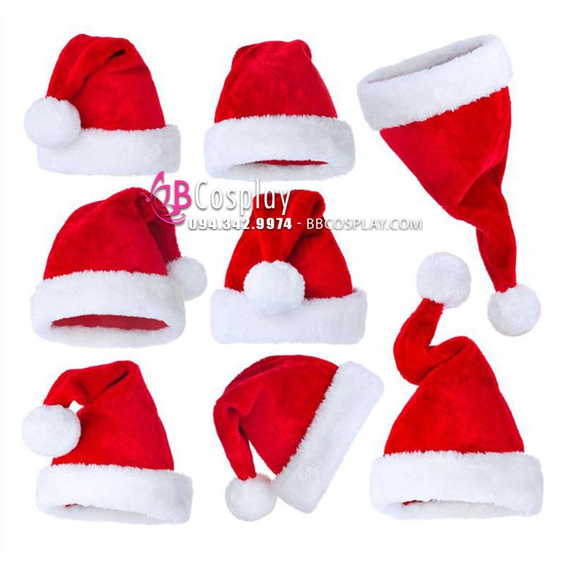 Nón Ông Già Noel Vải Nhung Size Vừa 38x25
