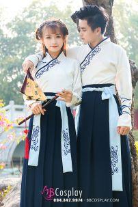 Cặp Hán Phục Trung Quốc Trắng Xanh