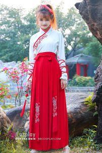 Hán Phục Môn Sinh Chiết Eo Áo Trắng Váy Đỏ