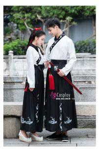 Hán Phục Áo Trắng Váy Đen Thêu