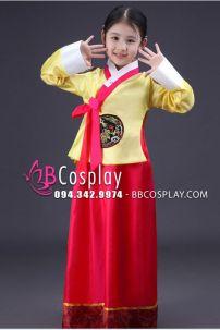 Hanbok Trẻ Em Áo Vàng Quần Đỏ
