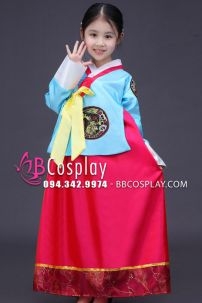 Hanbok Trẻ Em Áo Xanh Quần Đỏ