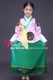 Hanbok Trẻ Em Áo Hồng Váy Xanh Lục
