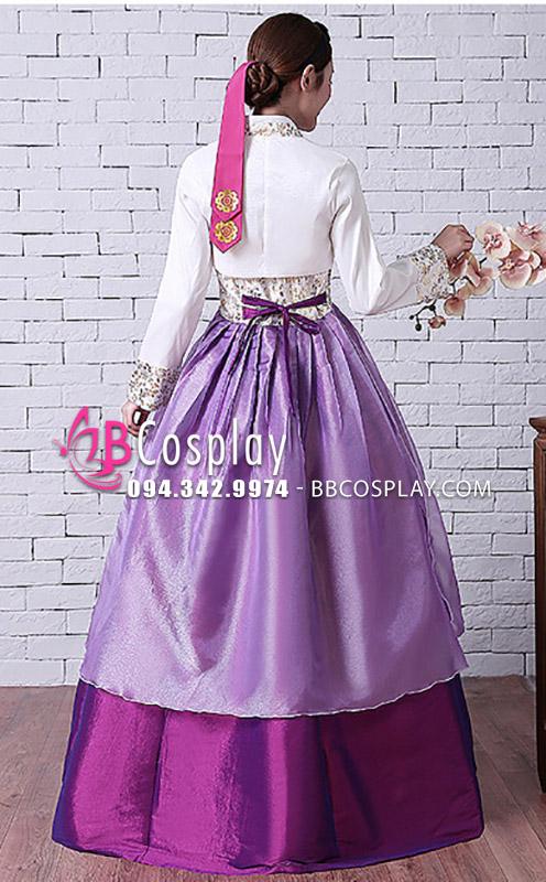 Hanbok Váy 2 Lớp Tay Gấm Áo Trắng Váy Tím