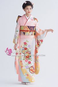 Kimono Truyền Thống Nhật Bản Hồng Pastel