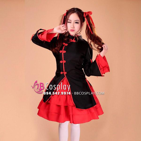 Qiloli Đen Tay Bèo Váy Đỏ Cổ Tàu
