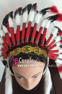 Mũ Thổ Dân Da Đỏ Lông Đen Đỏ