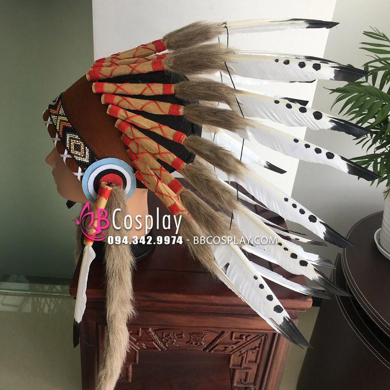 Mũ Thổ Dân Da Đỏ Lông Trắng Chấm Đen