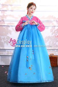 Hanbok Hàn Quốc Voan Áo Hồng Váy Xanh