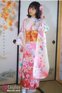 Đồ Nhật Bản Kimono Hoa Đào Nền Hồng