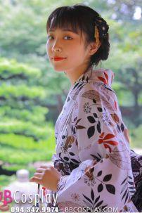 Yukata Chuẩn Nhật Lá Phong Nền Trắng