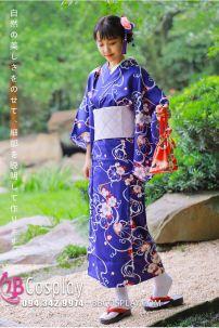 Đồ Nhật Bản Yukata Hoa Trắng Nền Xanh