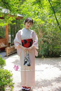 Yukata Nhật Bản Hồng Pastel Họa Tiết Tối Giản