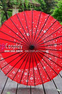 Ô Dù Nghệ Thuật Wagasa Nhật Bản Đỏ Hoa Đào