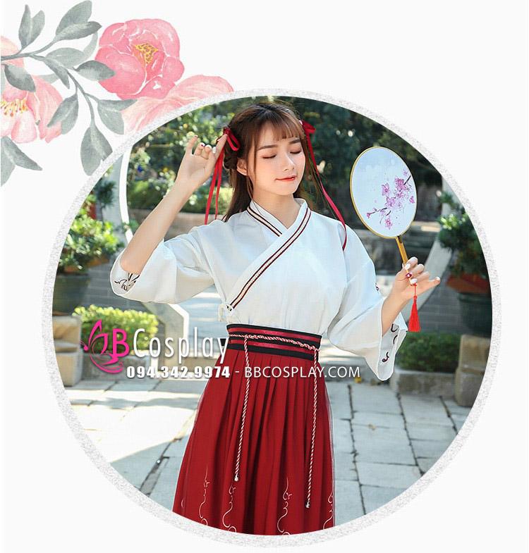 Hán Phục Cách Tân Vân Lưu Váy Dài