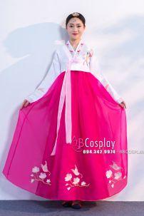 Hanbok Hàn Quốc Áo Trắng Váy Hồng