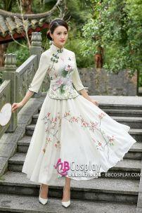 Váy Sườn Xám Cách Tân - Vàng Kem