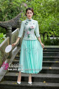 Váy Sườn Xám Cách Tân - Xanh Mint