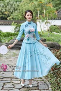 Váy Sườn Xám Cách Tân - Xanh Ngọc