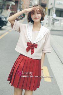 Nữ Sinh Nhật Áo Kem Váy Đỏ