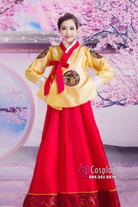 Hanbok Hàn Gía Rẻ Áo Vàng Váy Đỏ