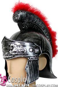 Mũ Chiến Binh La Mã Bạc Có Lông Đỏ