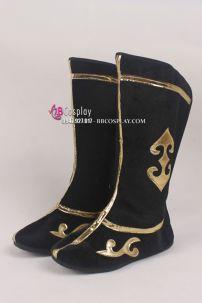 Giày Cổ Trang Nam Đen Viền Vàng