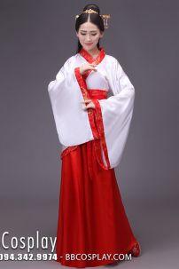 Cổ Trang Thời Tần Áo Trắng Váy Đỏ