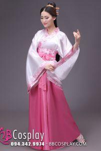 Cổ Trang Thời Tần Áo Trắng Váy Hồng