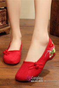 Hài Vải Hán Phục Đỏ Thêu Hoa