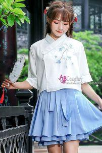Hán Phục Cách Tân Tiểu Ái Áo Trắng Váy Xanh
