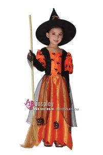 Trang Phục Phù Thủy Bé Gái Halloween