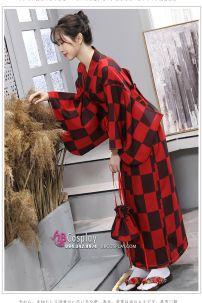 Kimono - Yukata Đỏ Caro Hiện Đại