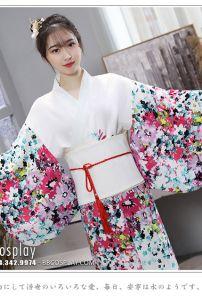 Kimono Yukata Nhật Bản Trắng Hoa Hiên Đại