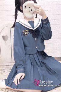 Seifuku Nữ Sinh Nhật Xanh Xám Dài Tay