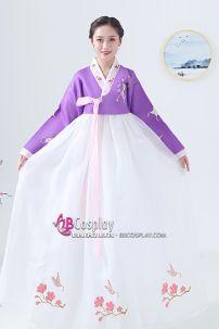 Hanbok Hàn Quốc Áo Tím Váy Trắng