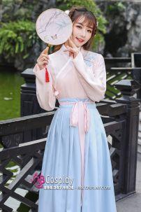 Hán Phục Cách Tân Áo Hồng Váy Xanh Dài