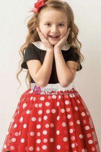 Đầm Minnie Trẻ Em Hàng May Đẹp (Chấm Bi Nhỏ Có Hình Thật)