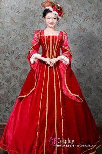 Đầm Đỏ Kiểu Châu Âu Thế Kỷ 19