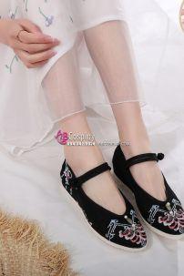 Giày Đen Thêu 4cm Size 38