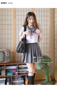 Đầm Seifuku Xám - Đồng Phục Học Sinh Nhật Xám Tay Ngắn