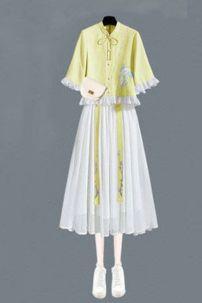 Hán Phục Cách Tân Vàng Váy Trắng