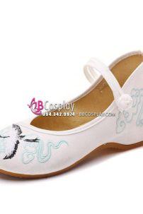 Giày Thêu Vải Hán Phục Chim Hạc Mũi Bale Cao 4.5cm Size 38